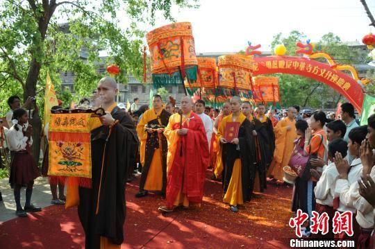 图为印顺大和尚荣膺尼泊尔中华寺方丈升座庆典。 张焱 摄
