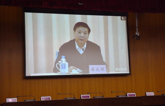 国土资源部部长、国家土地总督察姜大明在北京主会场并讲话。李绍荣 摄