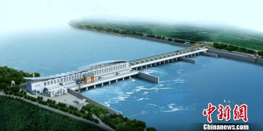 江西省峡江水利枢纽工程效果图。江西省水利厅供图