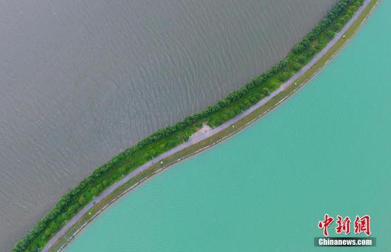 航拍南昌瑶湖双色景观 一半灰色一半碧绿