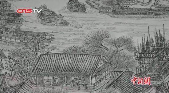 江西艺术家百日手绘7米长钢笔画版清明上河图
