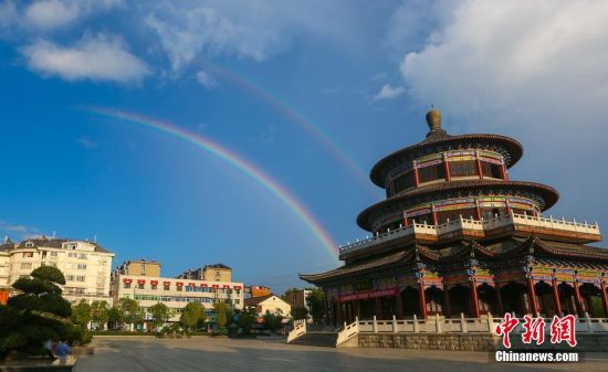 龙8国际娱乐手机登录武宁上空出现彩虹美景