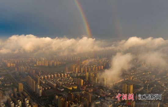 航拍注册送白菜网新余暴雨后壮观彩虹横亘天际