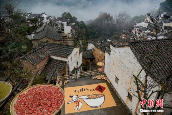 """江(jiang)西(xi)婺源古村民眾快(kuai)樂過(guo)""""臘(la)八"""""""